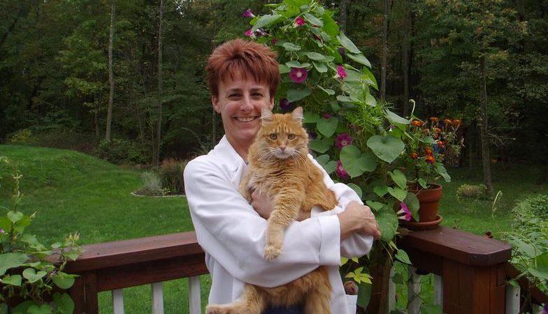 Dr. DeMaula holding a cat
